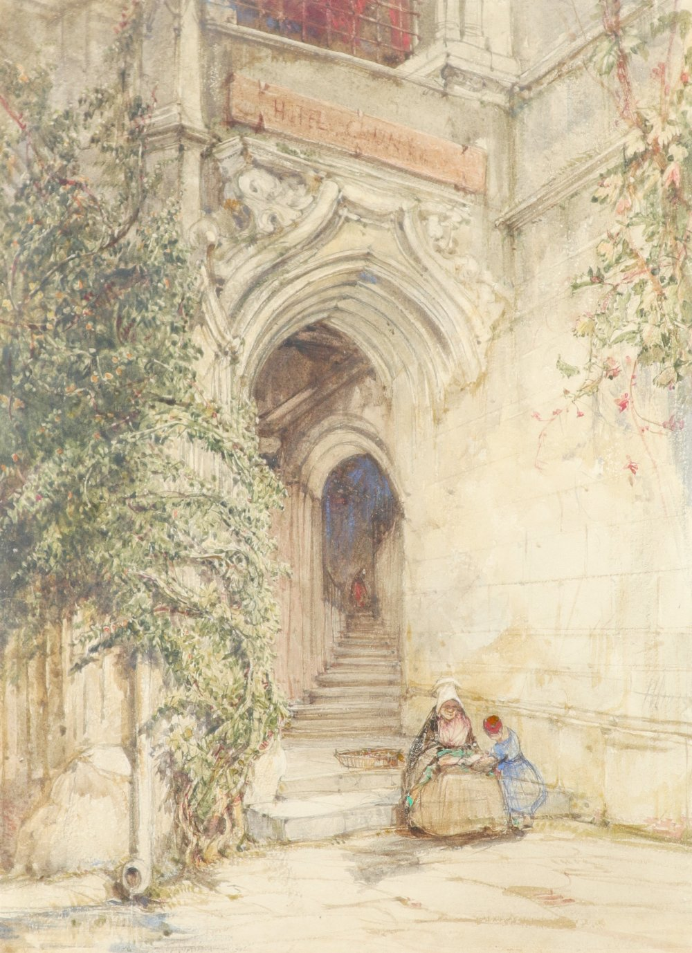James Holland OWS (1799-1870) Hotel Cluny, Paris Signed with initials and dated JH 1835 (lower