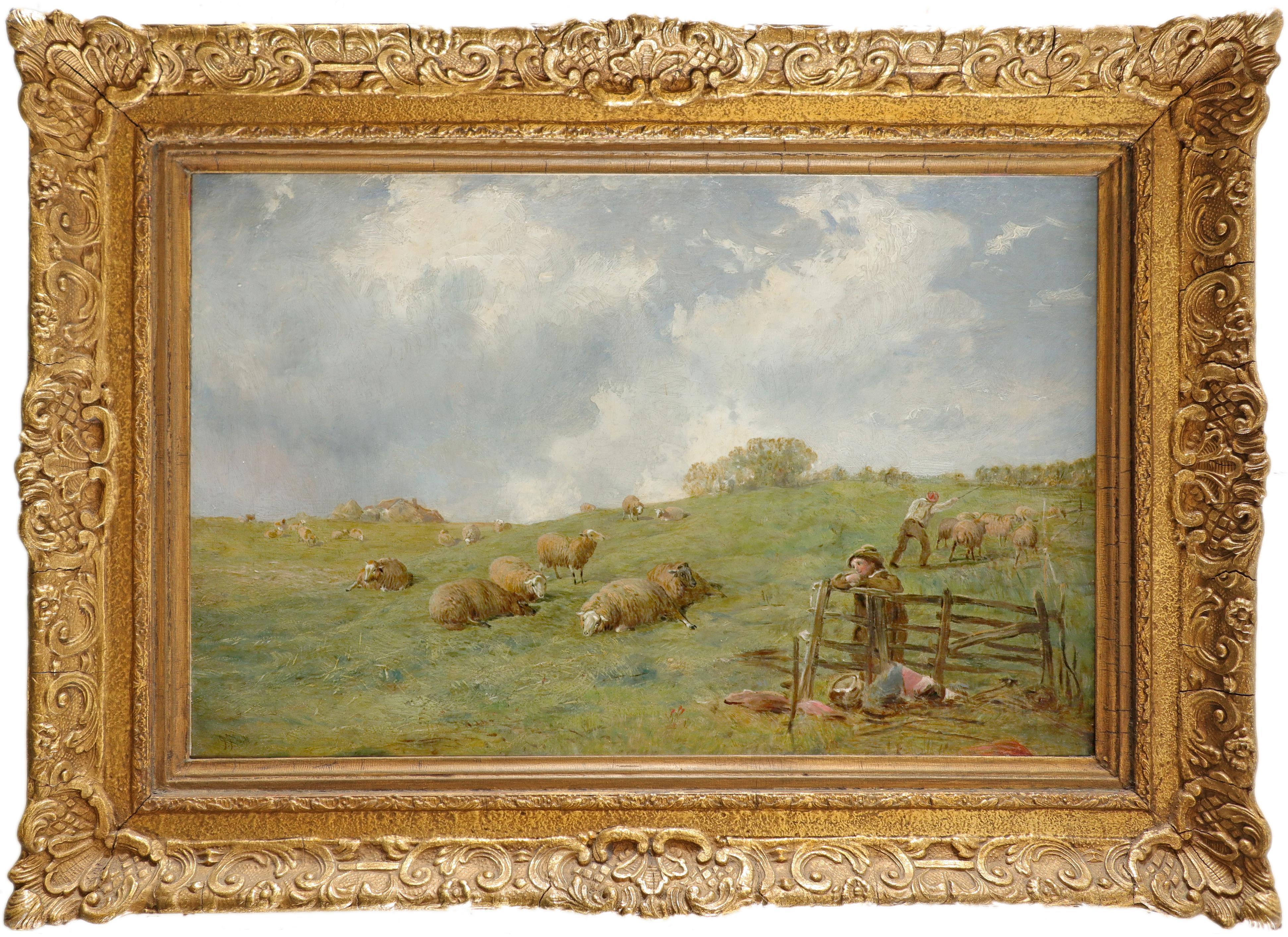 James John Hill RBA (1811-1882) Shepherds and their flock on a hillside Signed JJ Hill (lower - Image 2 of 3