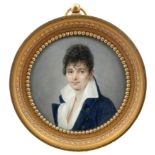 λFrench School c.1800 Portrait miniature of a gentleman wearing a blue coat and white jacket
