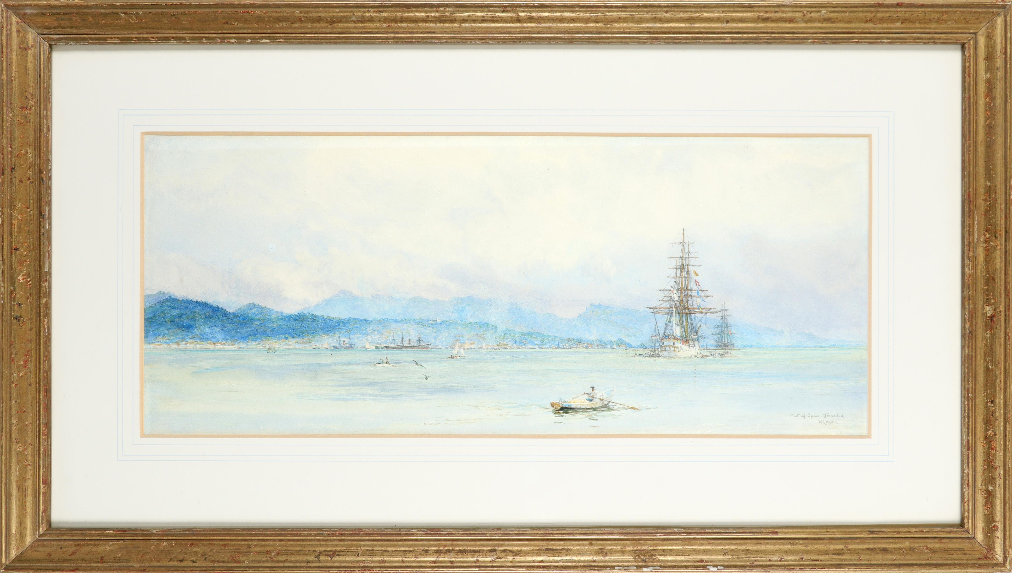William Lionel Wyllie RA (1851-1931) View of Port of Spain, Trinidad Signed and inscribed Port of - Image 2 of 3