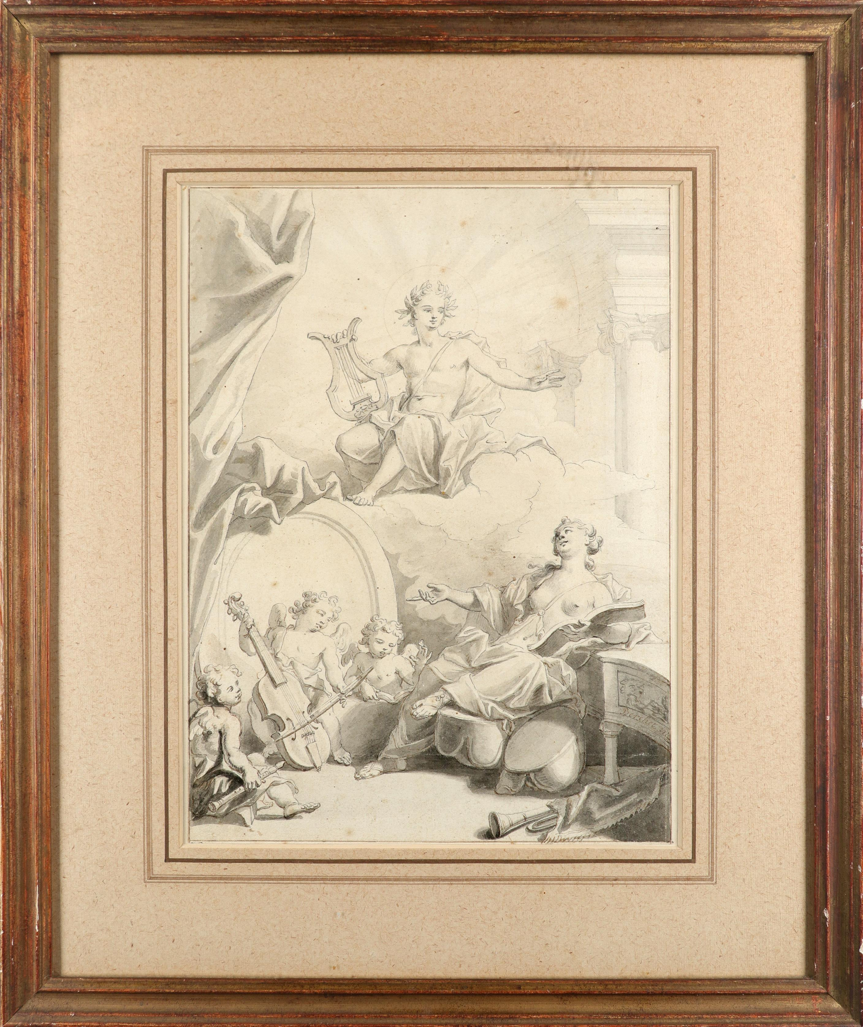 Pierre Berchet (French 1659-1719/20) Design for a frontispiece depicting Apollo, a muse and putti - Image 2 of 3