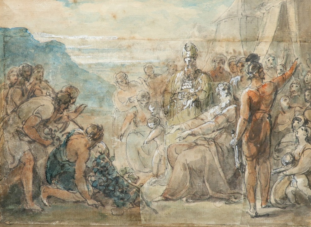 William Hamilton RA (1751-1801) The spies return from Canaan; Figures by an encampment Two, both pen
