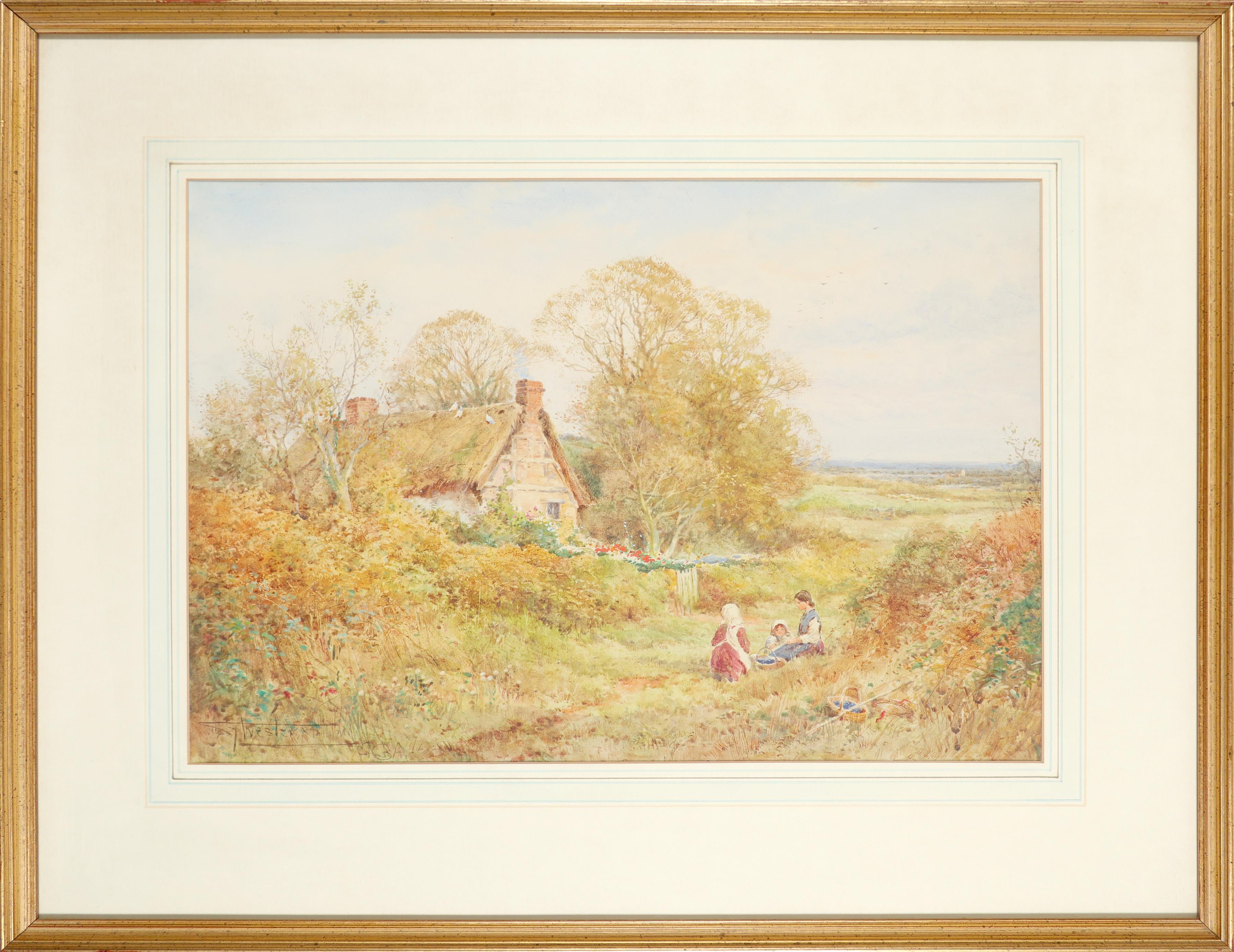 ‡Henry John Sylvester Stannard RBA, FRSA (1870-1951) Children in a landscape outside a cottage - Image 2 of 3
