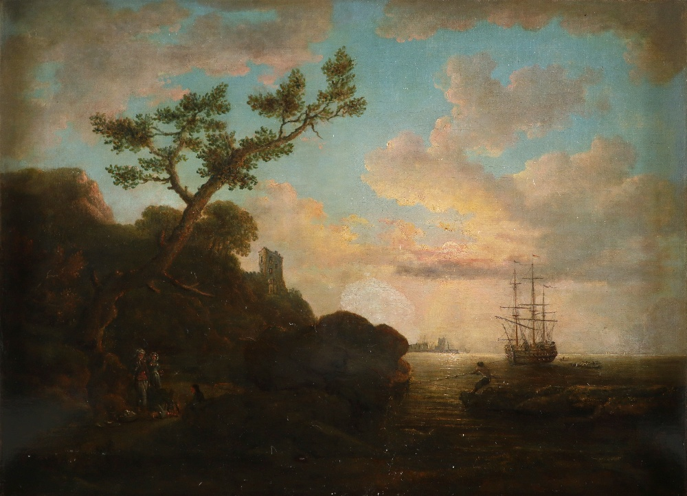 English School 18th Century Coastal landscape with figures on the shore around a camp fire, shipping