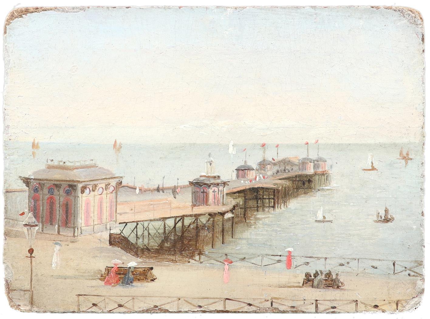 British School c.1900 Elegant figures strolling by the pier Oil on board 8.8 x 12.1cm; 3½ x 4¾in - Image 2 of 3