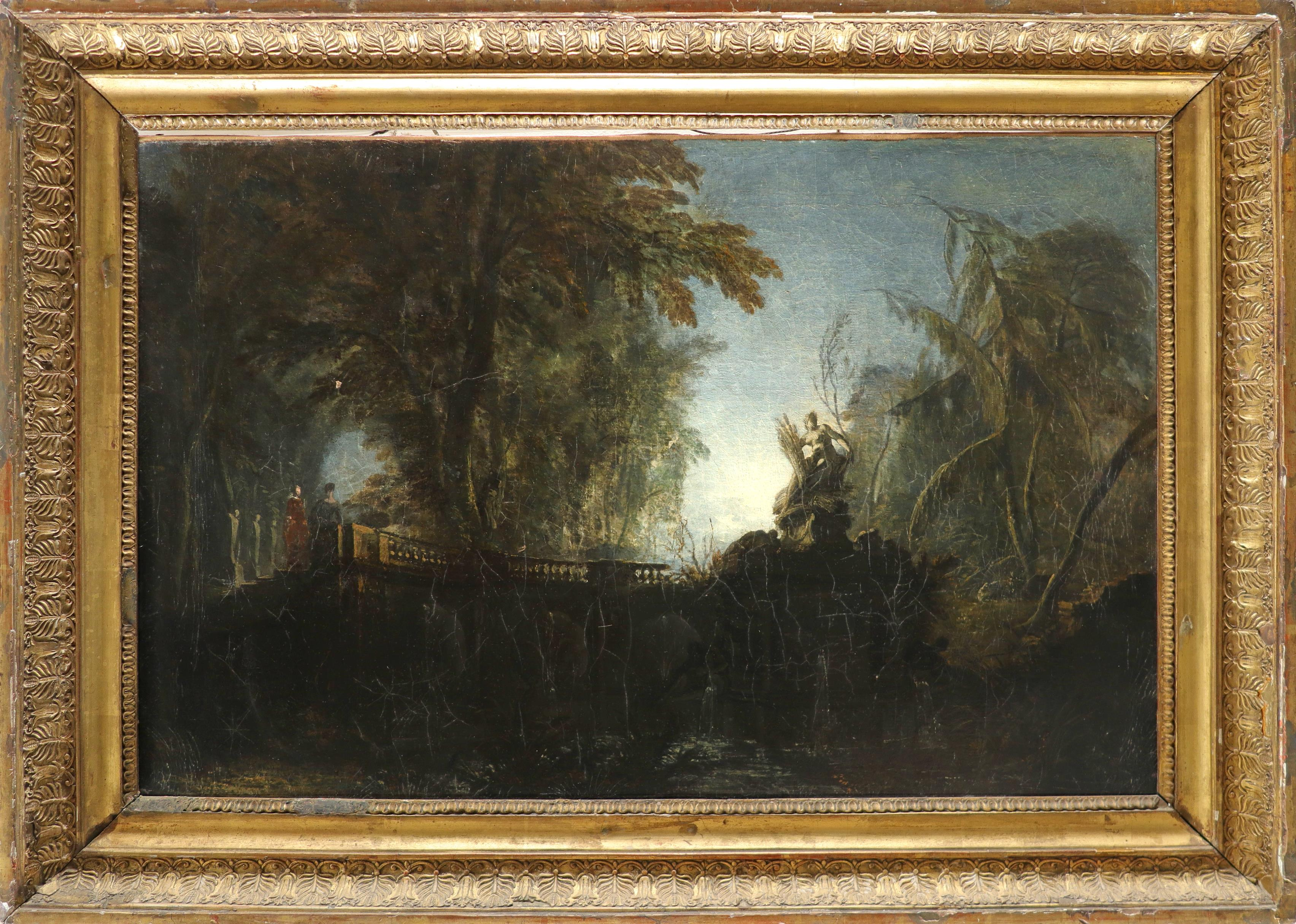 Attributed to Jacques de Lajoüe (French 1686-1761) Park landscape with figures on a bridge near a - Image 2 of 3