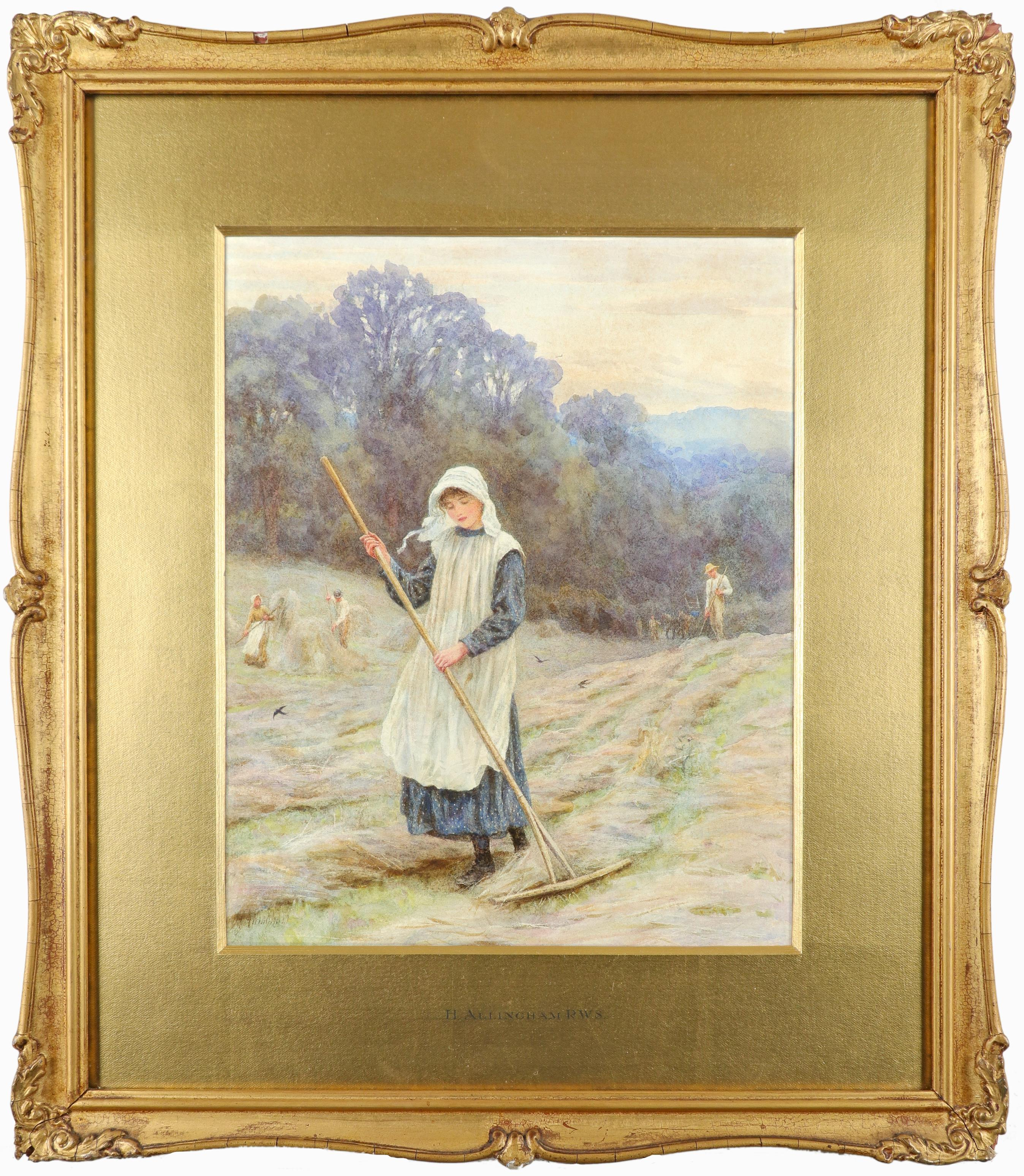 Helen Allingham RWS (1848-1926) Haymaking Signed H Allingham (lower left) Pencil and watercolour - Image 2 of 3