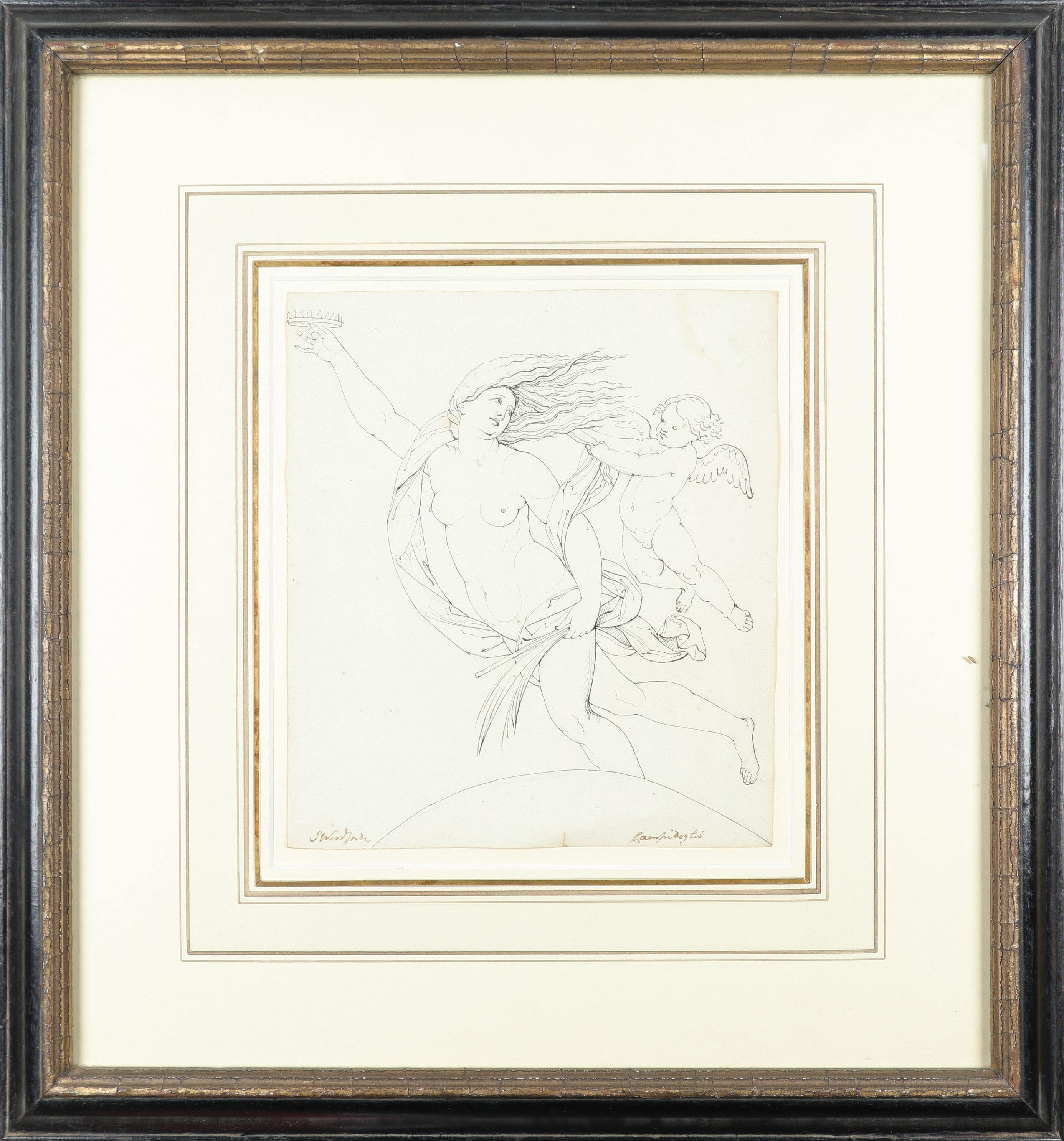 Samuel Woodforde RA (1763-1817) Victory, holding a crown and palm, with a putto; The muse - Image 2 of 9