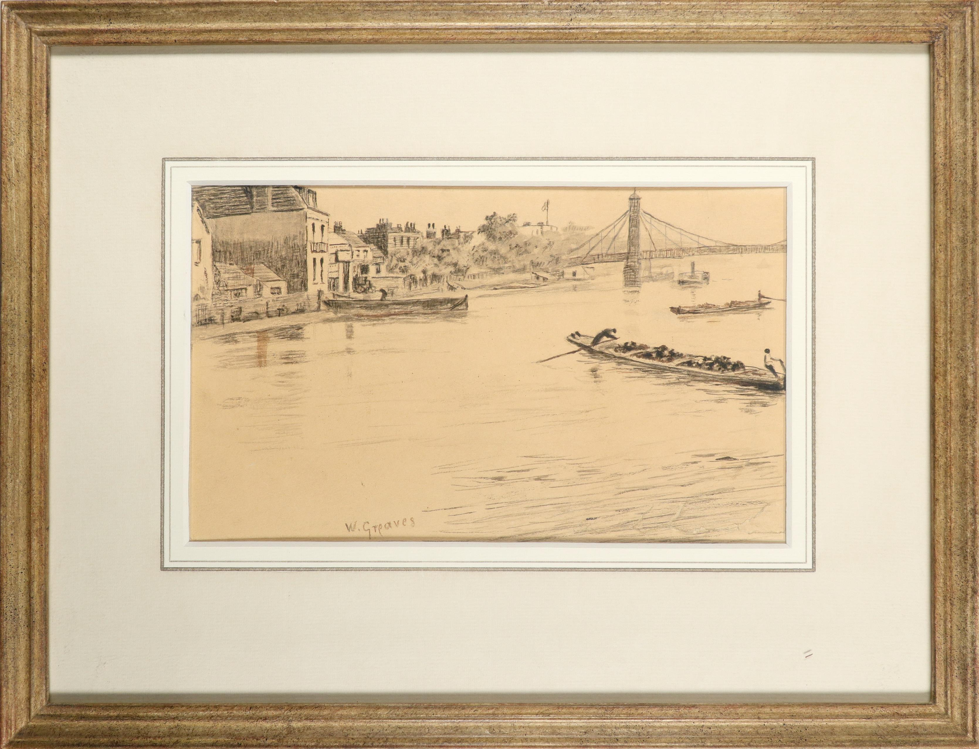 Walter Greaves (1846-1930) A view of the Thames at Battersea Bridge Signed W.Greaves (lower left) - Image 2 of 3