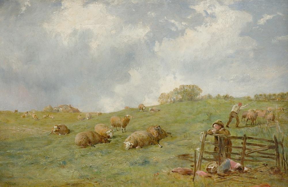 James John Hill RBA (1811-1882) Shepherds and their flock on a hillside Signed JJ Hill (lower