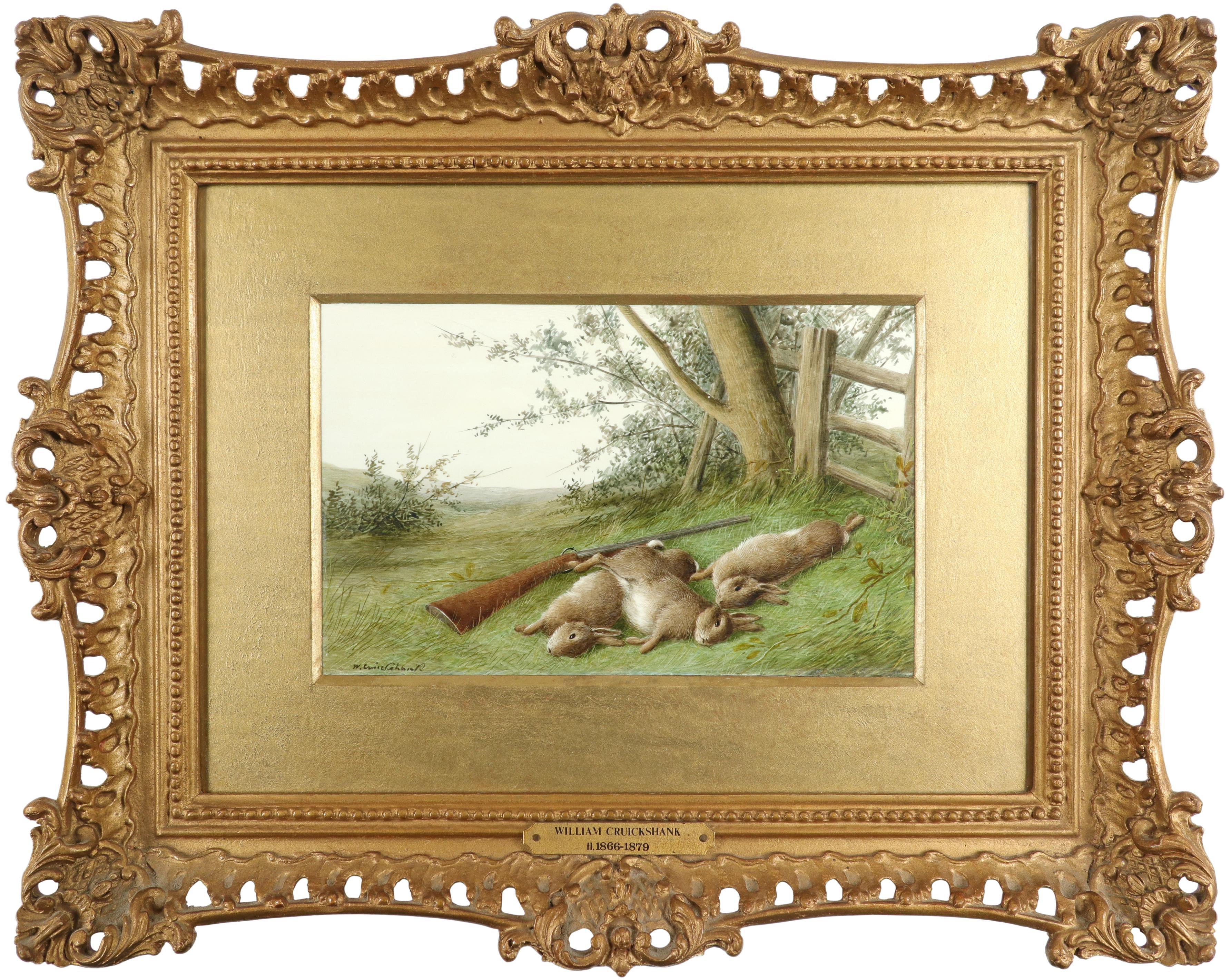 λWilliam Cruickshank (1848-1922) Hunter and his spaniel; Spaniel and two hares; The day's bag; Three - Image 11 of 12