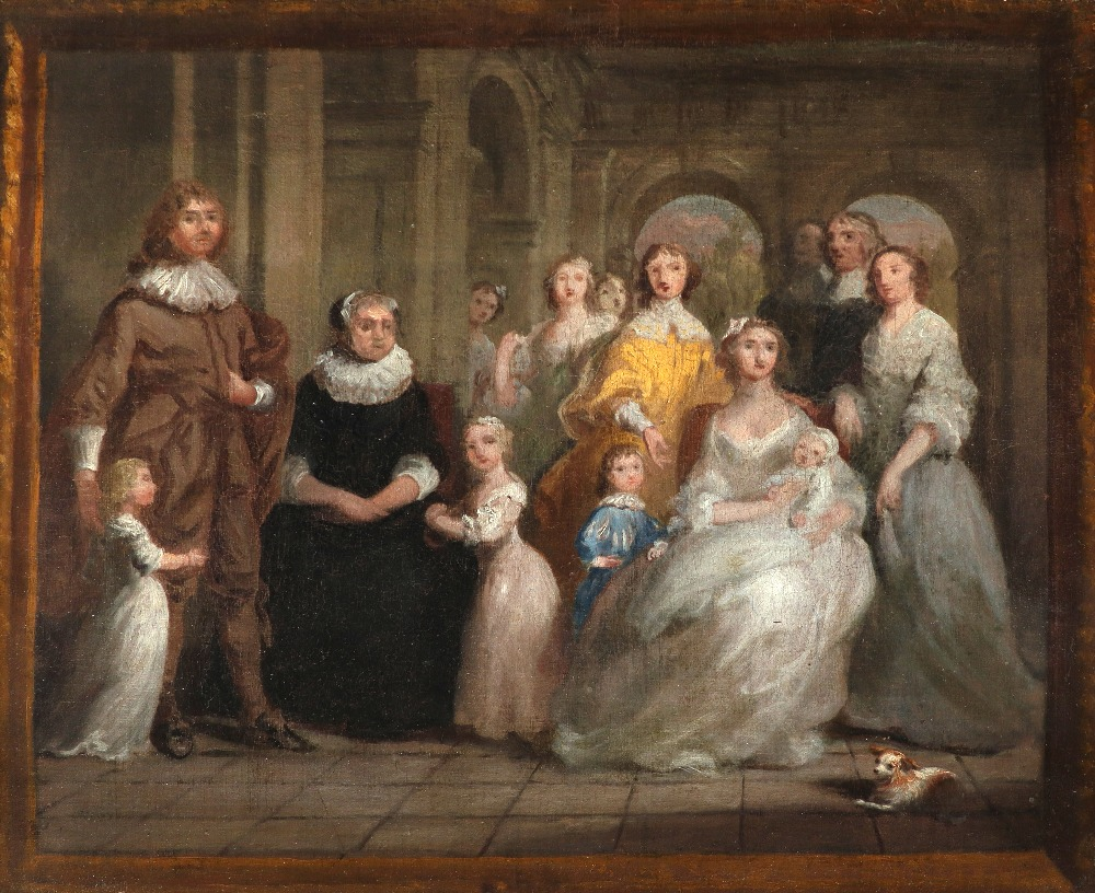 Attributed to Joseph Highmore (1692-1780 Study for a family portrait in an architectural setting,