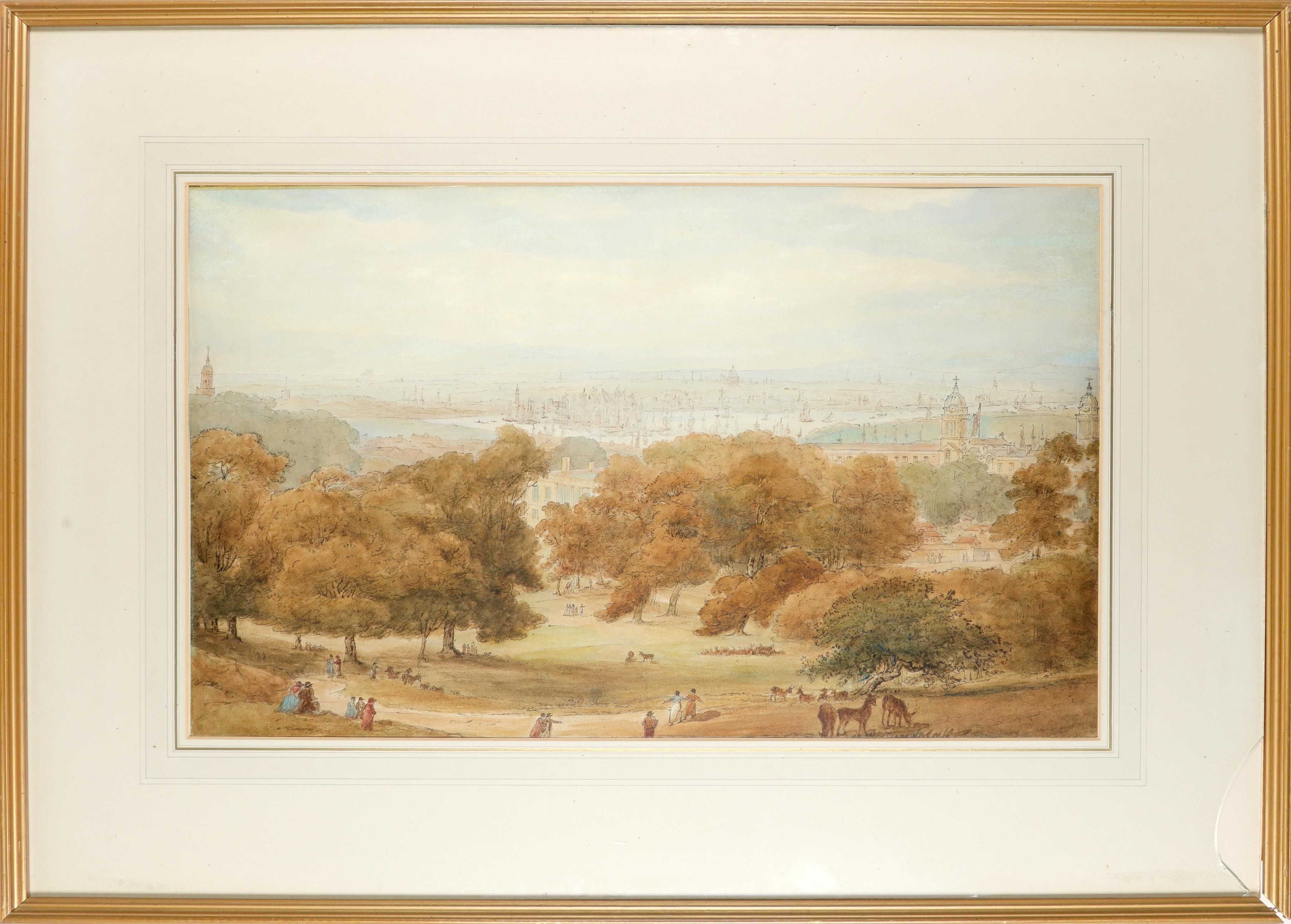 William Daniell RA (1769-1837) A view of Greenwich Park near the Royal Observatory, with St. Paul' - Image 2 of 3