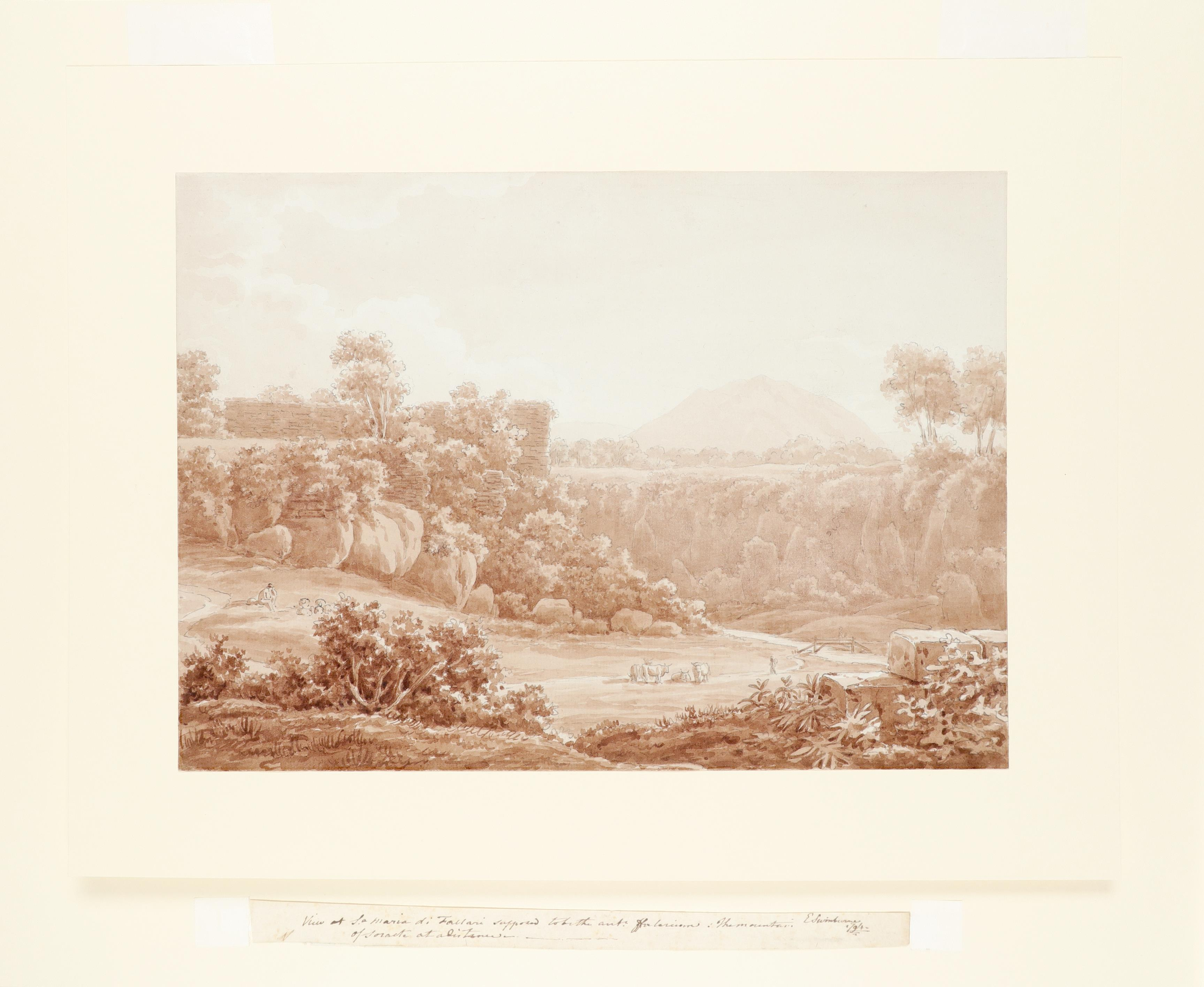 Edward Swinburne (1765-1847) Roman landscape with Mount Soracte in the distance Signed and inscribed - Image 2 of 3