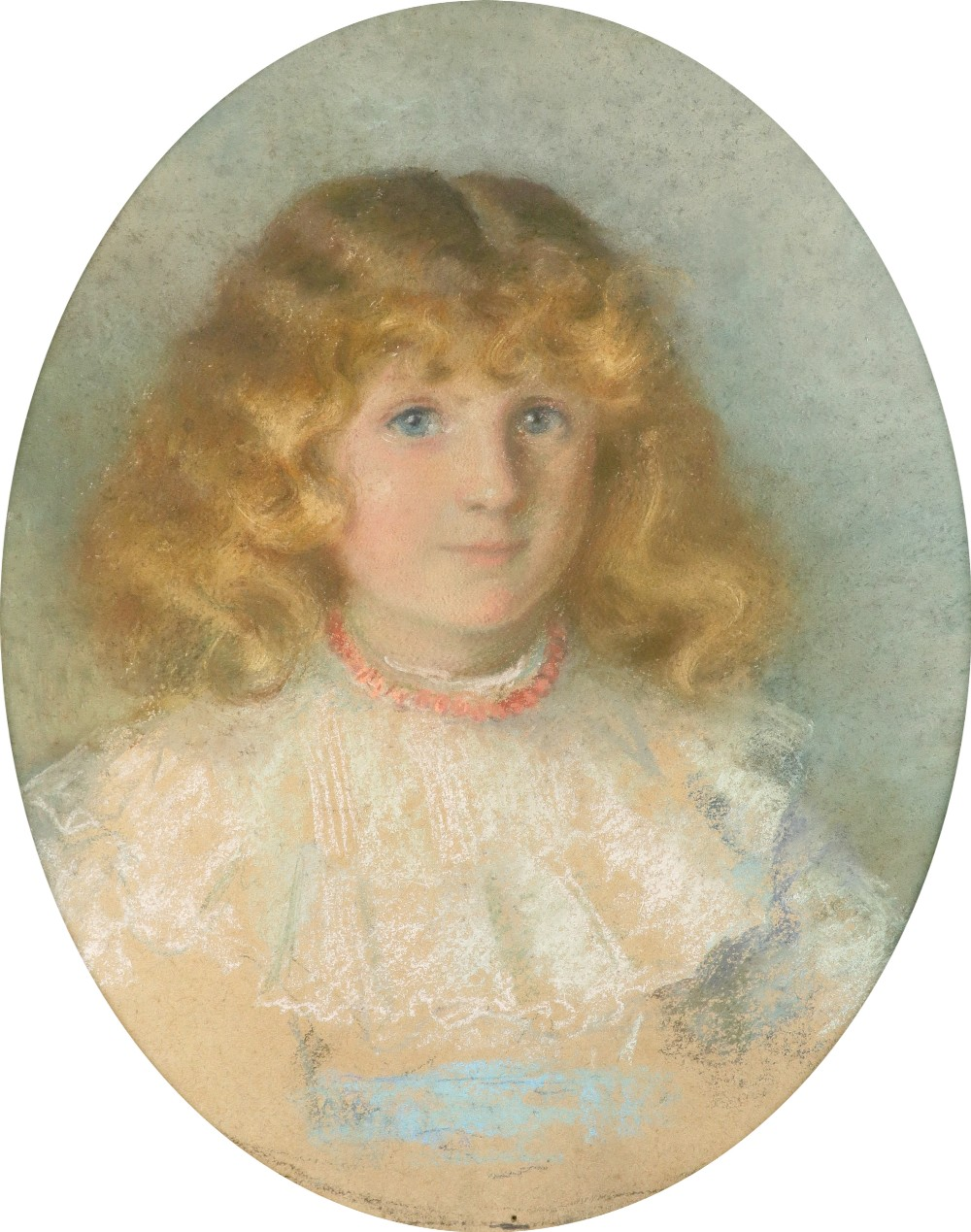 British School 1900 Portrait of a boy in a sailor suit; Portrait of a girl in a blue dress with lace - Image 4 of 6