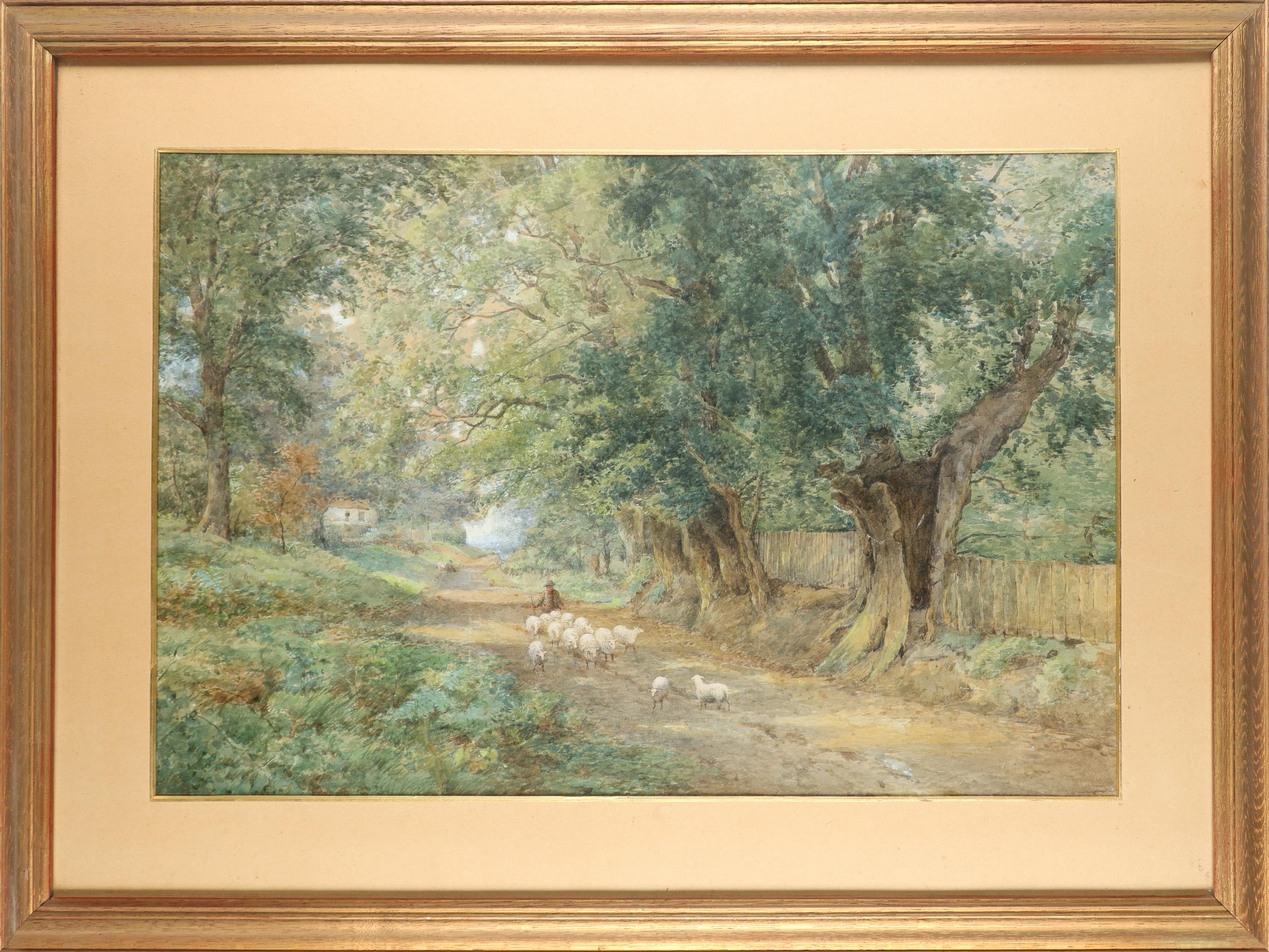 English School 19th Century A shepherd and his flock on a country road Pencil and watercolour - Image 2 of 3