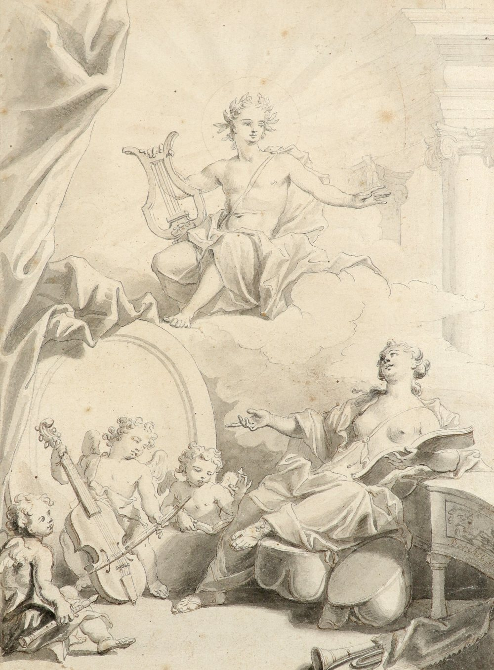 Pierre Berchet (French 1659-1719/20) Design for a frontispiece depicting Apollo, a muse and putti