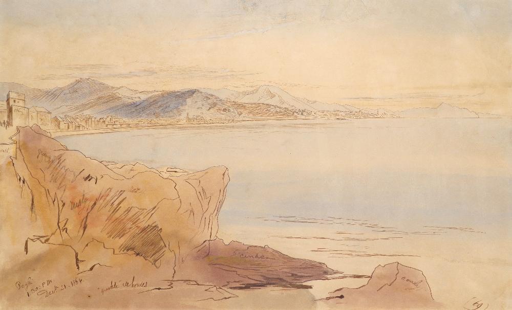 Edward Lear (1812-1888) A view of Pegli, Italy Inscribed and dated Pegli/1.30:pm/Dec 21 1864 (