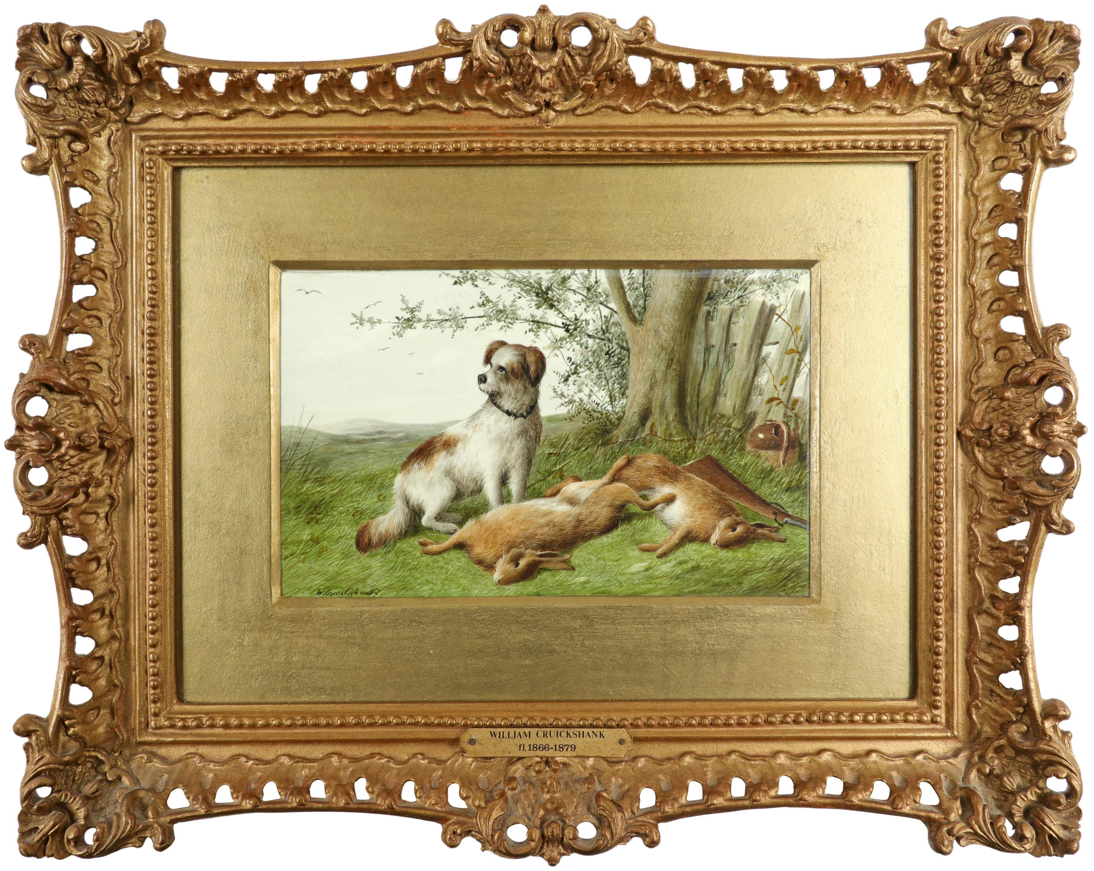 λWilliam Cruickshank (1848-1922) Hunter and his spaniel; Spaniel and two hares; The day's bag; Three - Image 5 of 12