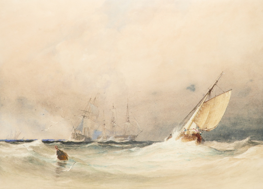 Anthony Vandyke Copley Fielding POWS (1787-1855) Ships in choppy waters Signed and dated Copley