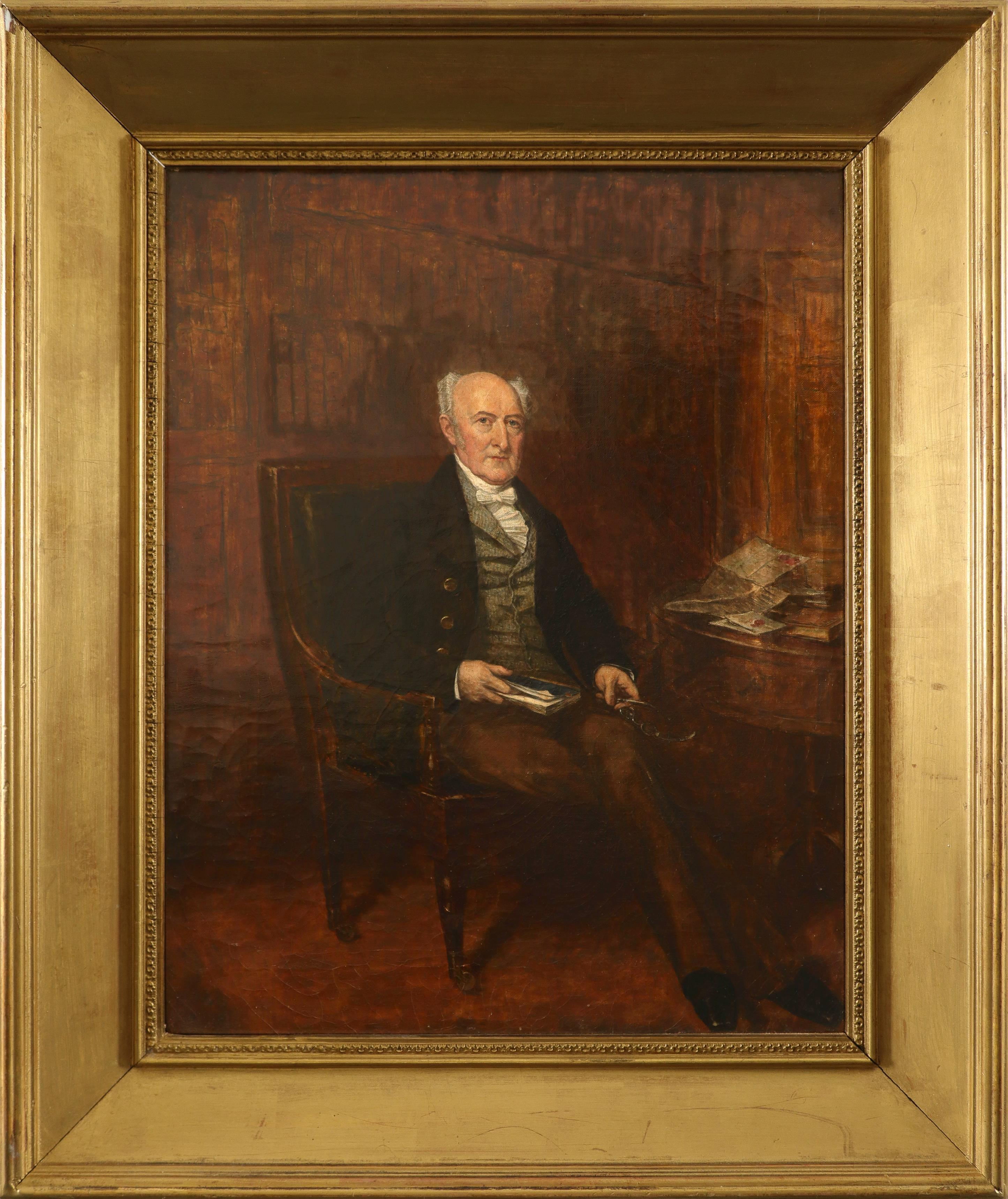 English School 19th Century Portrait of a gentleman, full-length, seated and holding a book Oil on - Image 2 of 3