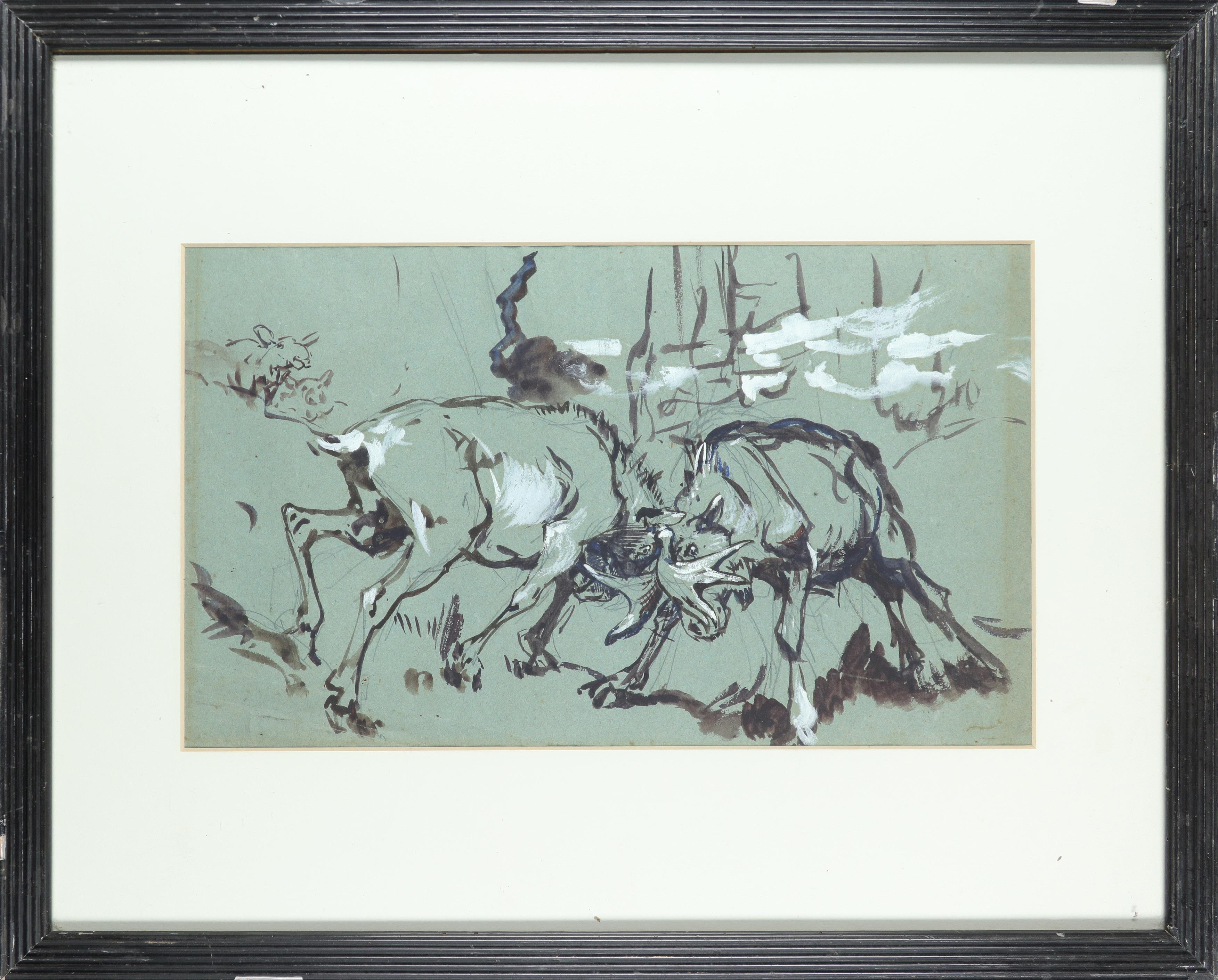 Alfred William Strutt (1856-1924) Study of stags rutting; Study of a reindeer Two, the latter - Image 2 of 6