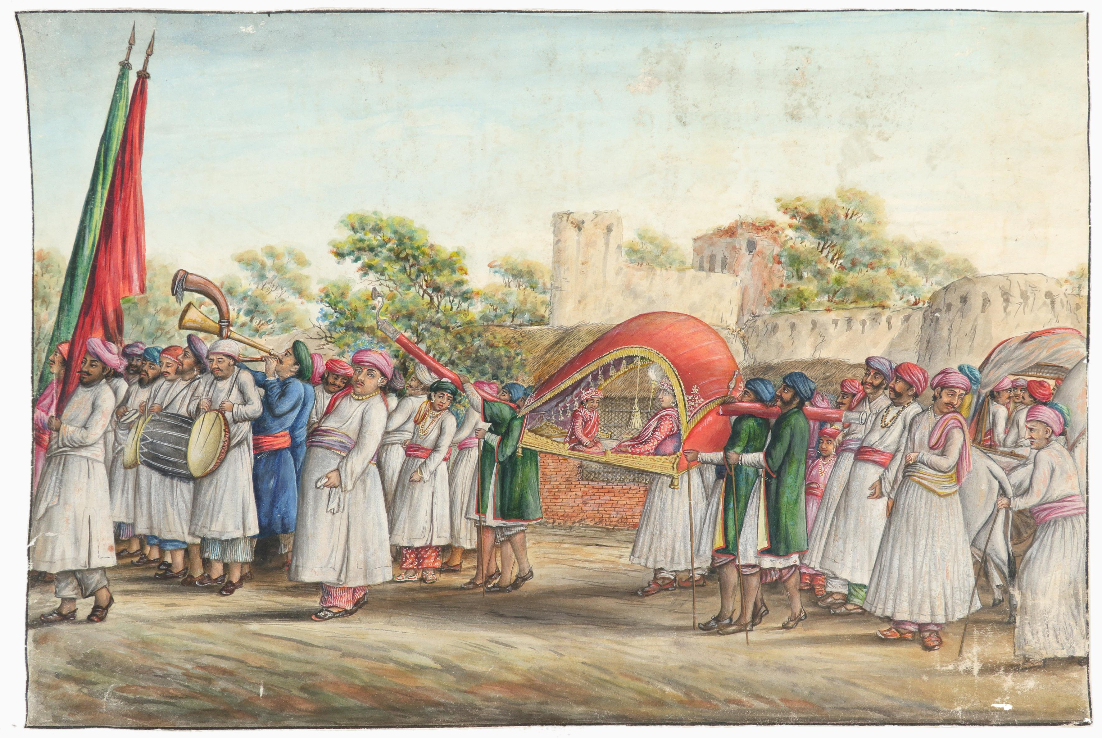 Indian School A procession outside a fort with figures being carried on a palanquin Watercolour - Image 2 of 3