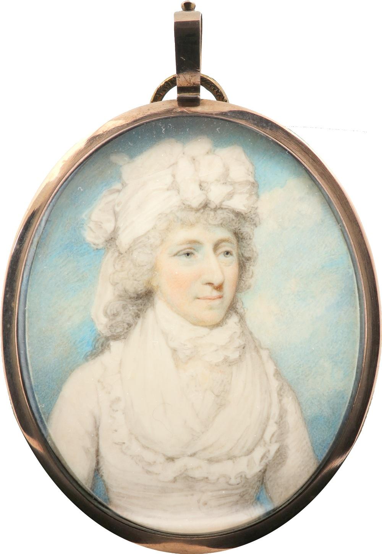 λHenry Edridge ARA (1768-1821) Portrait miniature of a lady, traditionally identified as Mrs James