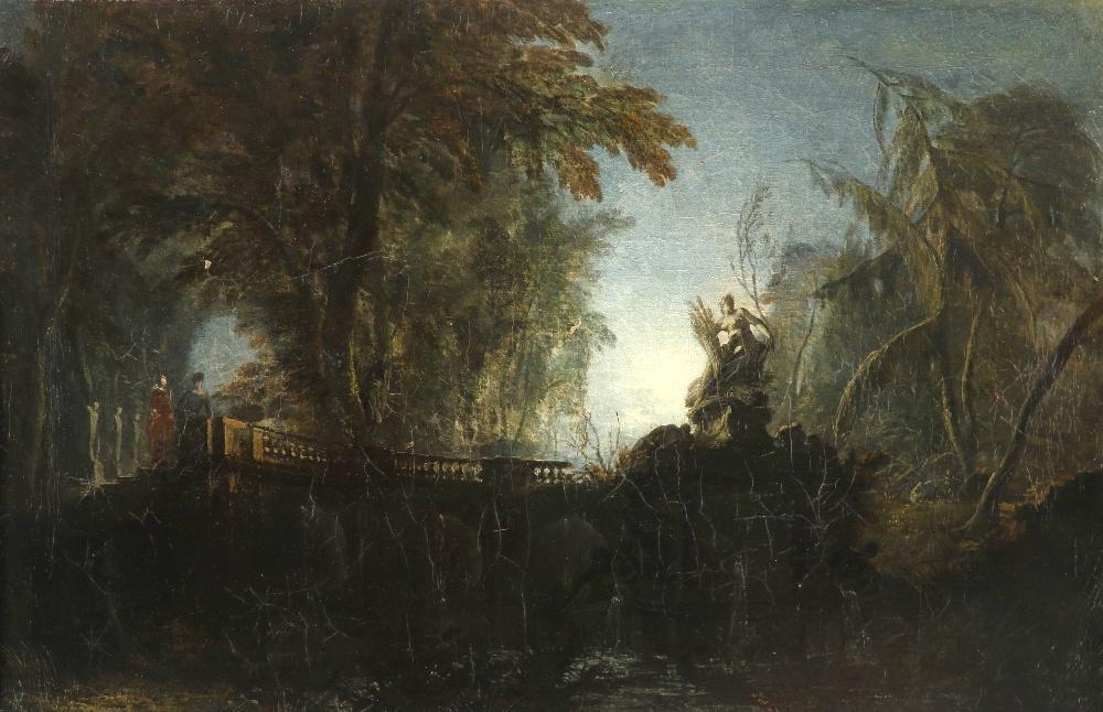Attributed to Jacques de Lajoüe (French 1686-1761) Park landscape with figures on a bridge near a