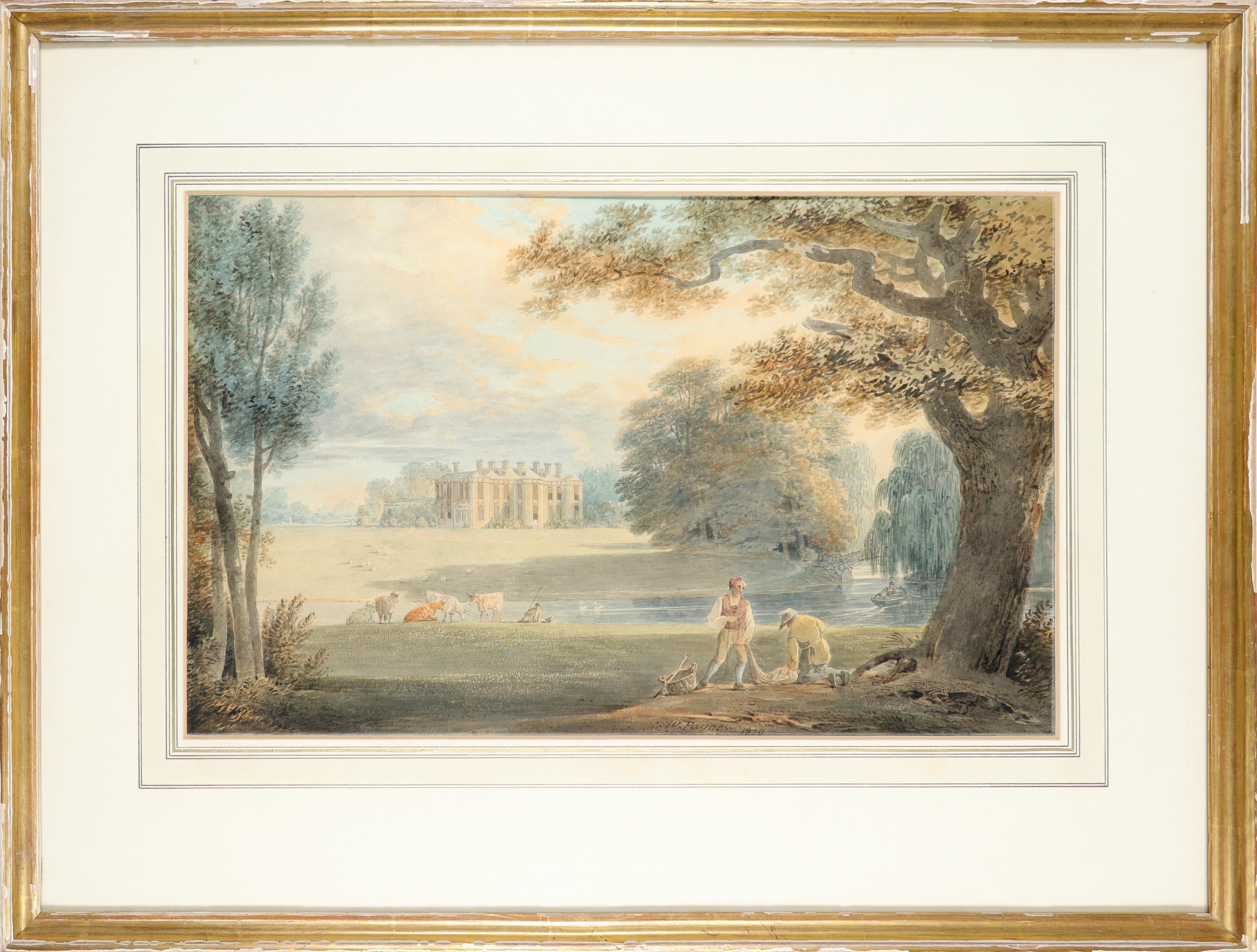 William Payne RWS (1760-1830) View of a country house, with fishermen repairing nets by a river - Image 2 of 3