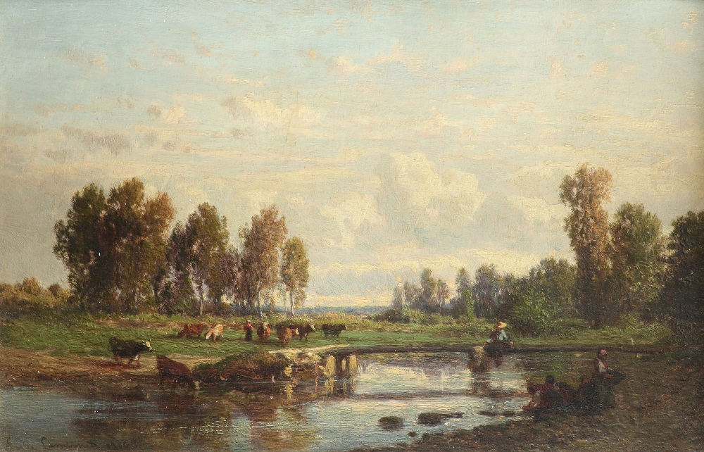 Émile Lambinet (French 1813-1877) Landscape with washerwomen by a river, and cattle grazing on the