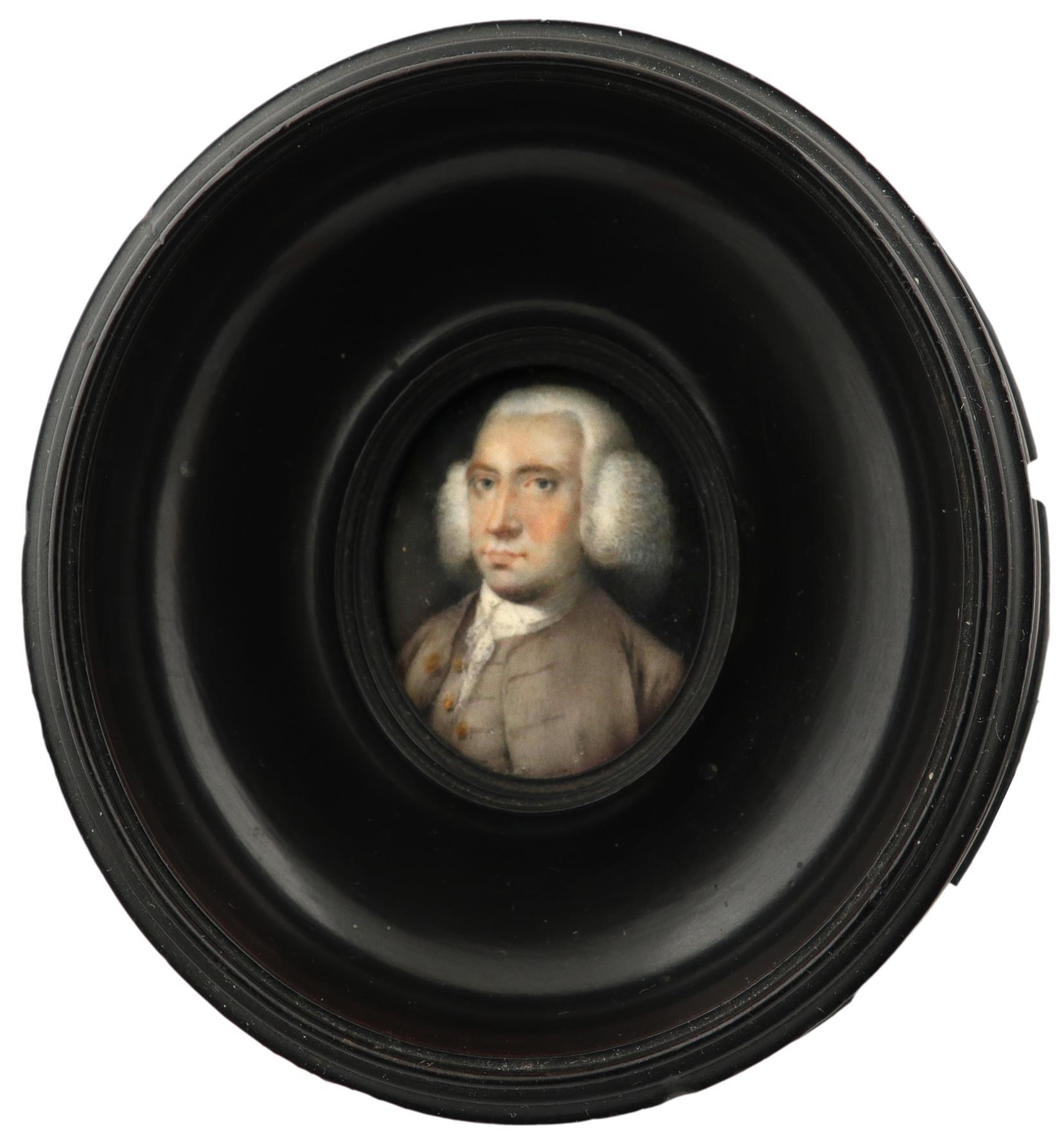 λAttributed to Robert Bowyer (1758-1834) Portrait miniature of a gentleman, wearing a grey coat - Image 2 of 3