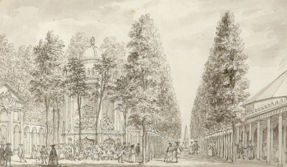 Samuel Wale RA (1721-1786) A view of the entrance of Vauxhall Gardens Pen and ink and grey wash,