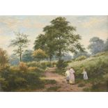 Julius Godet (act. 1844-1884) Landscape with figures on a path Signed J Godet (lower left) Oil on