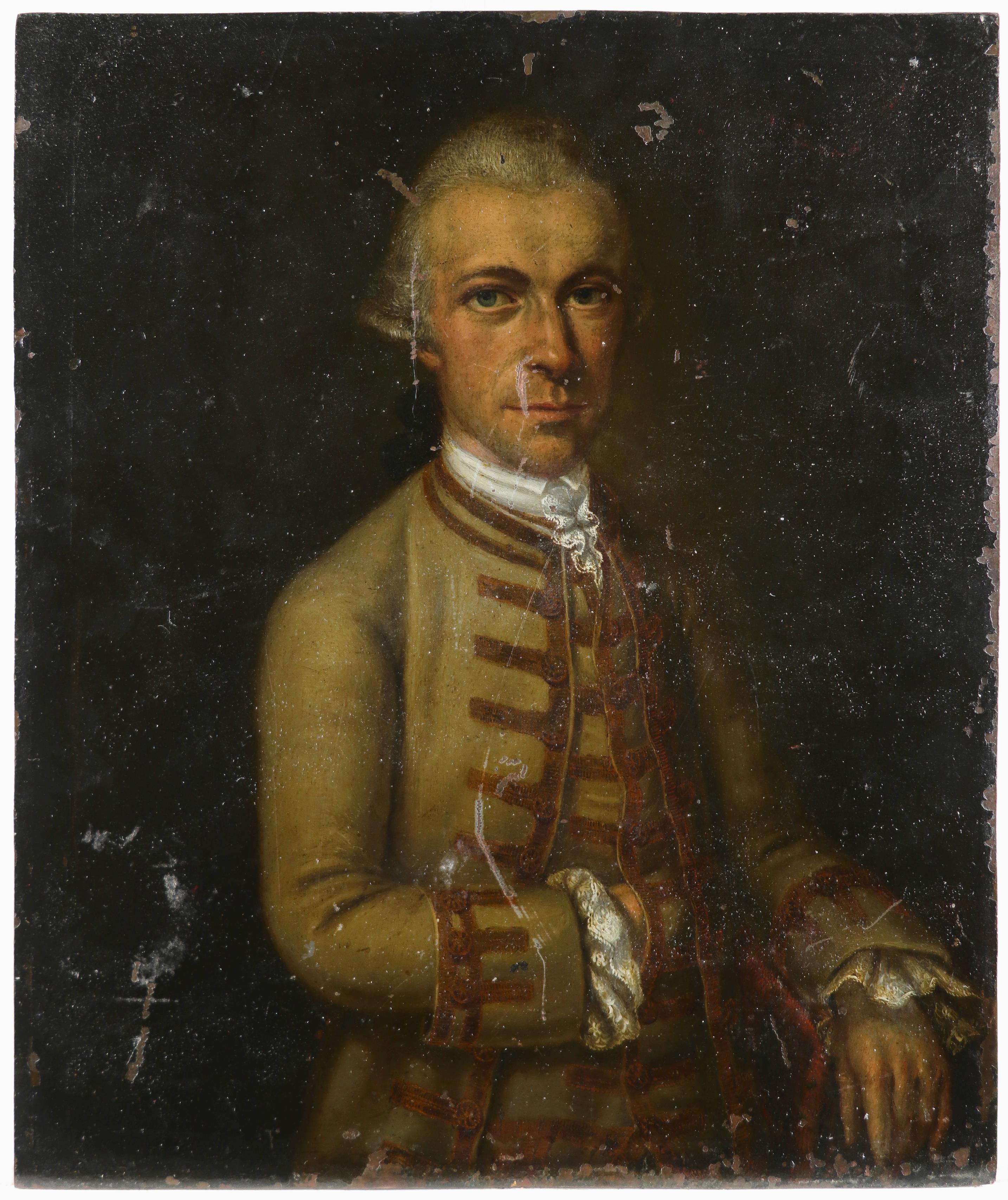 Central European School 18th Century Portrait of a gentleman. half-length, wearing a green coat - Image 2 of 3