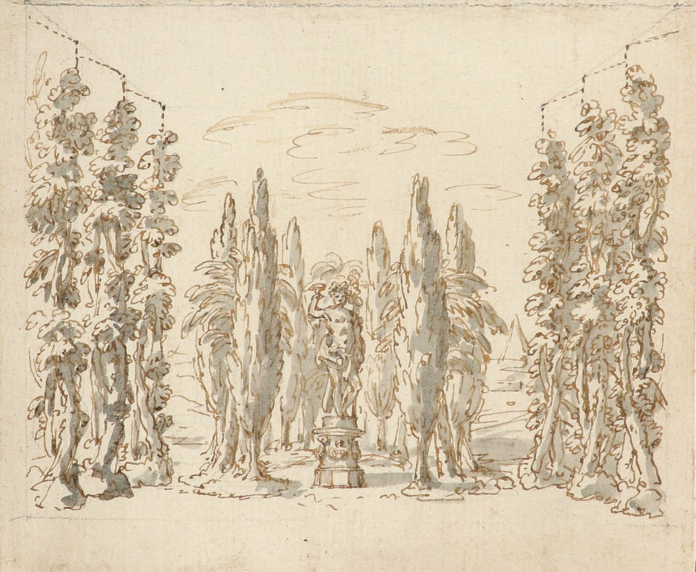 English School Early 18th Century Study of a statue of Bacchus amongst a grove of trees Pencil,