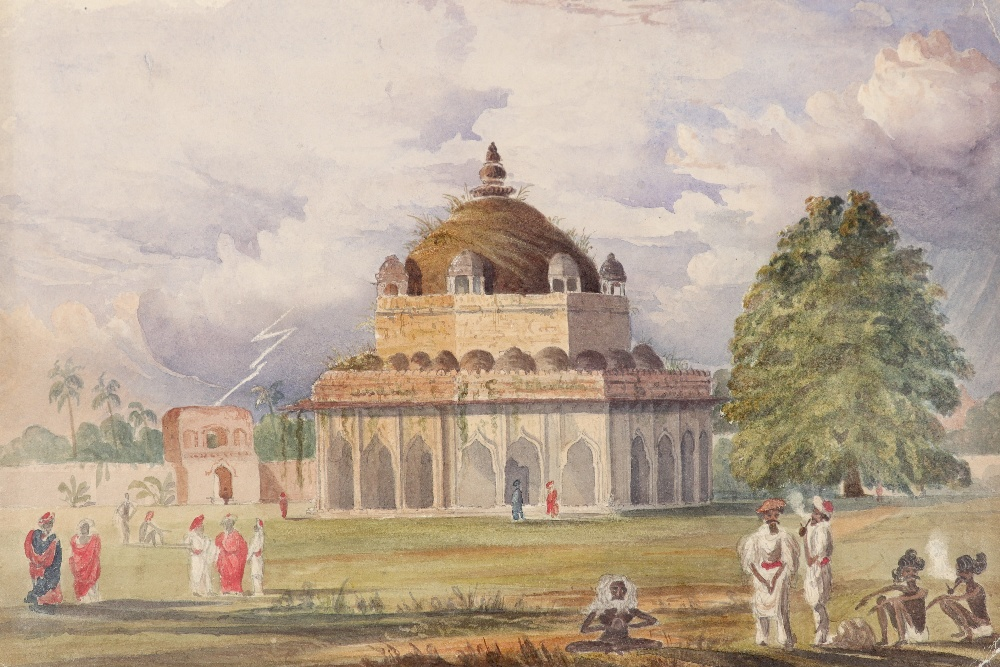 Anglo-Indian School 19th Century Figures by the Tomb of Sher Shar Suri Pencil and watercolour 21.5 x