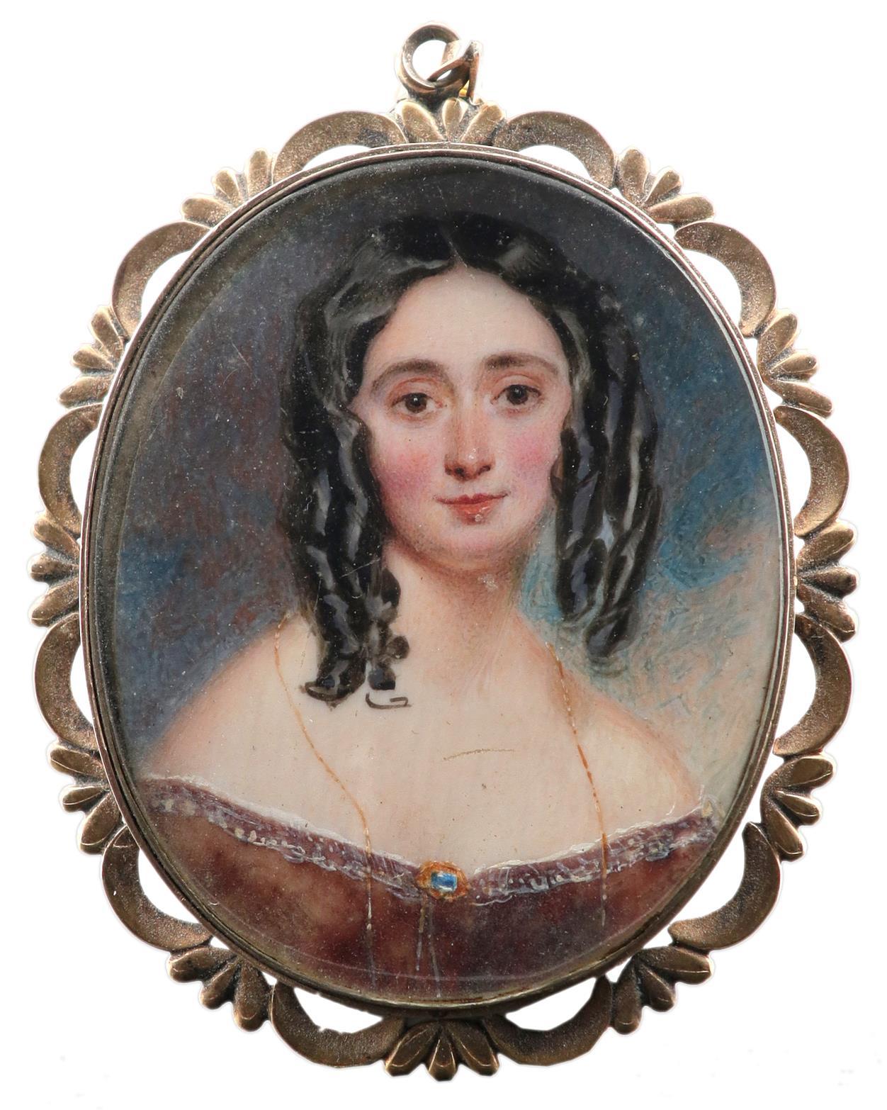 λFollower of William Egley Portrait miniature of a lady, wearing a brown dress with a gold brooch