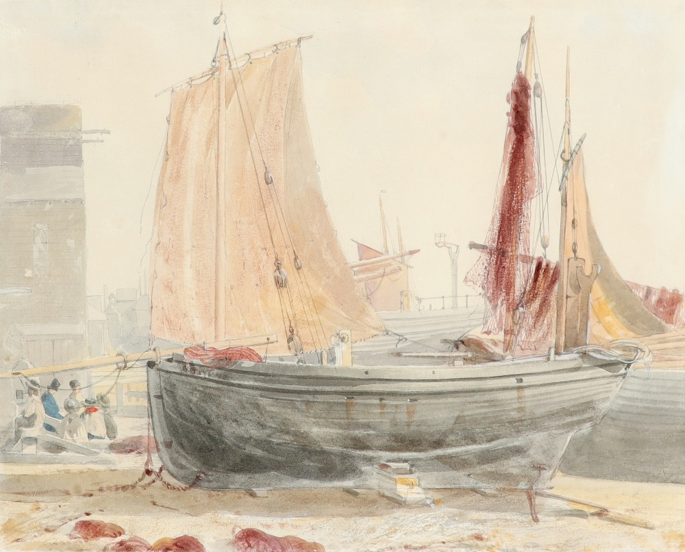 Circle of William Henry Hunt Boats moored on a beach, possibly Hastings Watercolour and pencil 22.