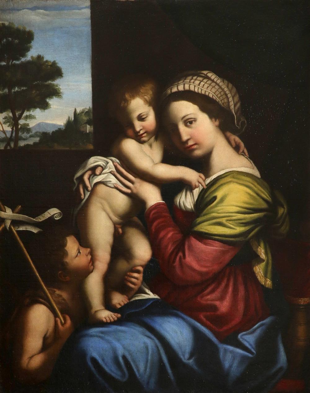 Circle of Giovanni Battista Salvi, Called Sassoferrato Virgin and Child with St. John the Baptist