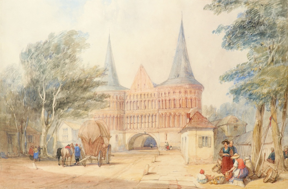 Alfred Gomersal Vickers (1810-1837) The Holsten Gate, Lübeck Watercolour heightened with