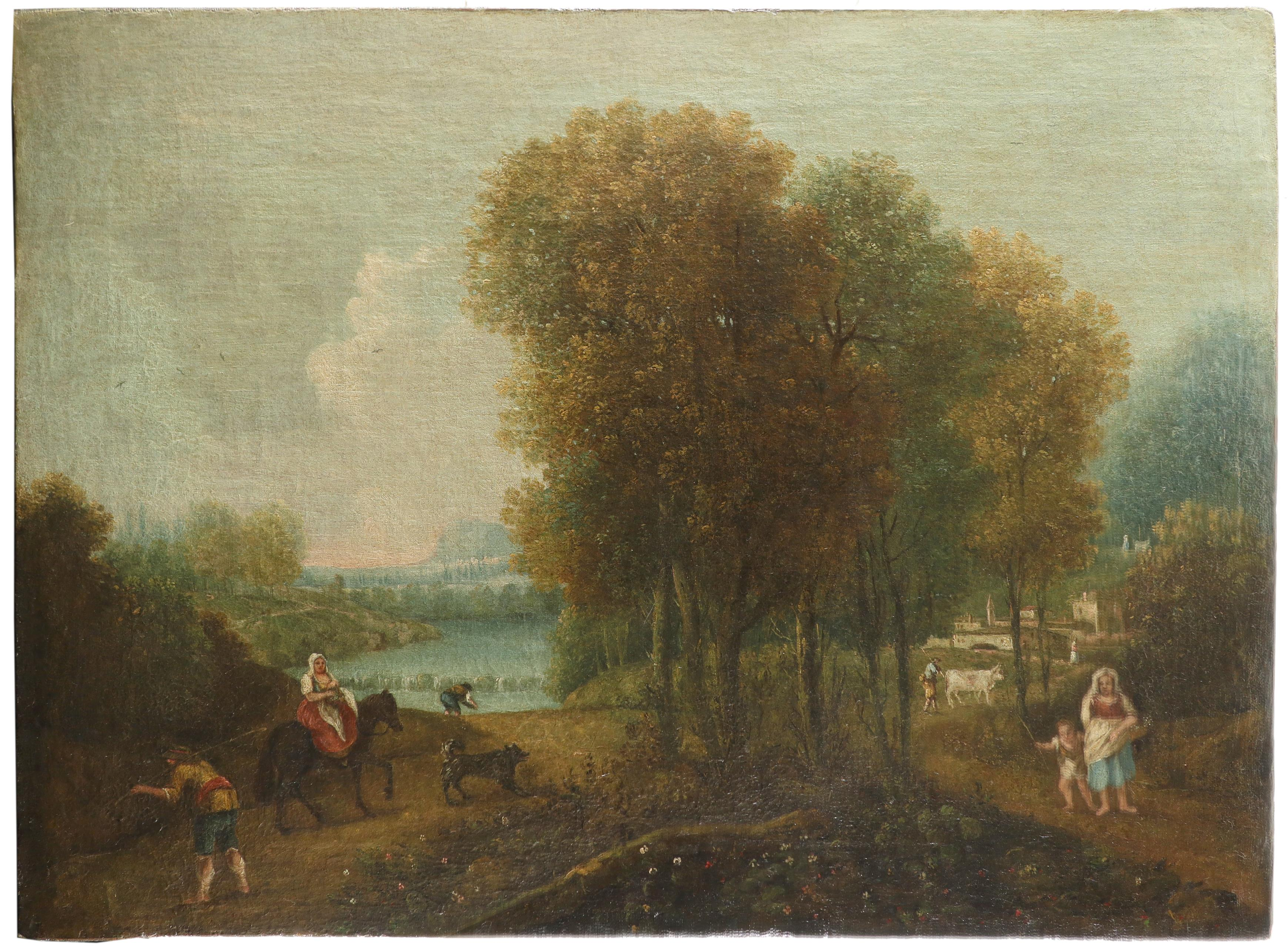 Italian School c.1800 Italianate wooded river landscape with figures and a town in the distance - Image 2 of 3