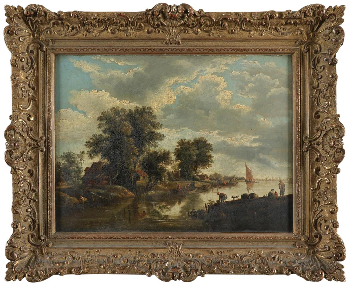 Dutch School 18th Century River landscape with figures fishing and boating Oil on panel 32.8 x 44. - Image 2 of 3