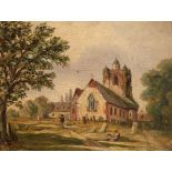 Circle of Alfred Vickers Figures in a churchyard Oil on board 13.5 x 17.7cm; 5¼ x 7in Provenance: