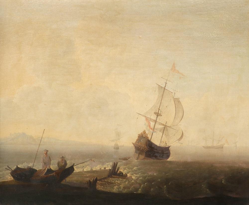 Adriaen Van Diest (Dutch 1655-1704) A Mediterranean coastal landscape at dawn, with a port in the - Image 4 of 6