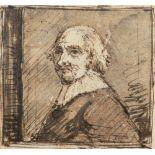 Dutch School 17th Century Portrait of a gentleman, bust-length, wearing a ruff Pen, black ink and