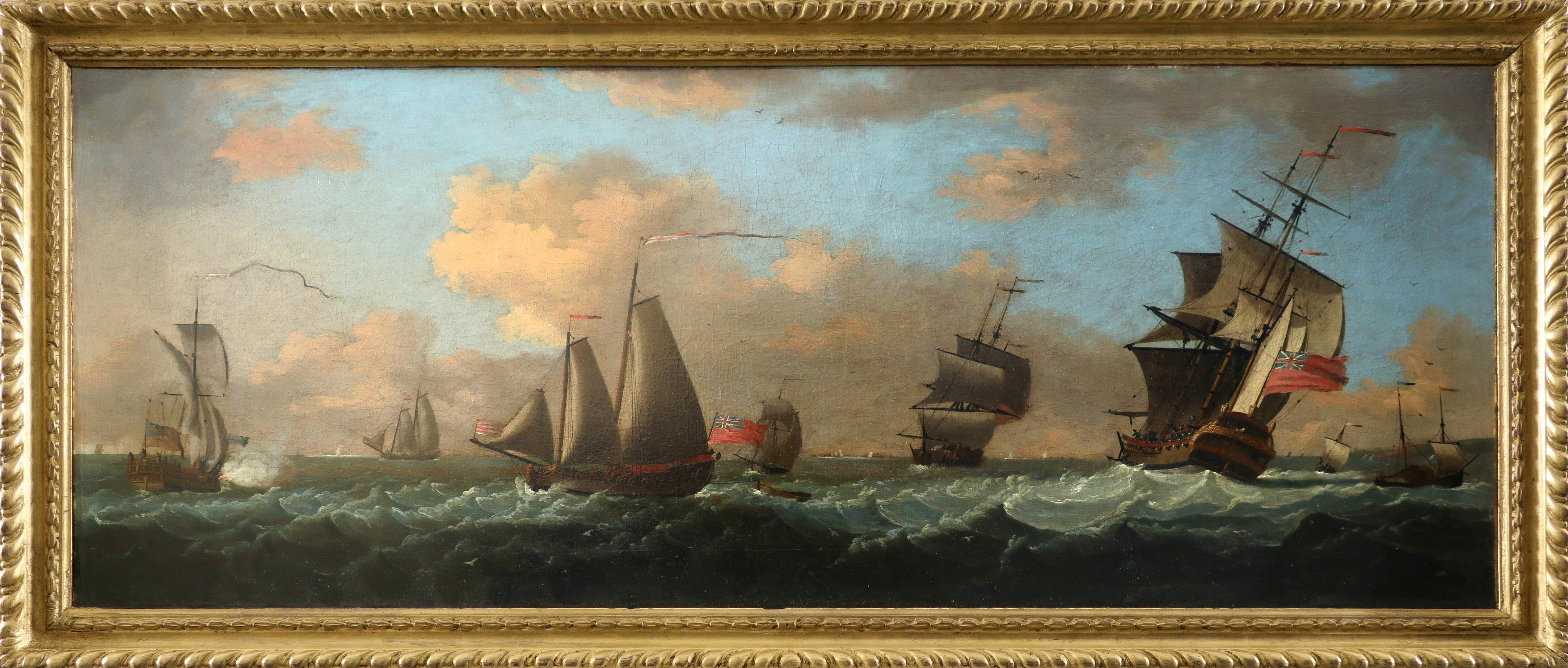Francis Swaine (1725-1782) An admiral yacht, man-o-war and other ships in coastal waters Oil on - Image 2 of 3