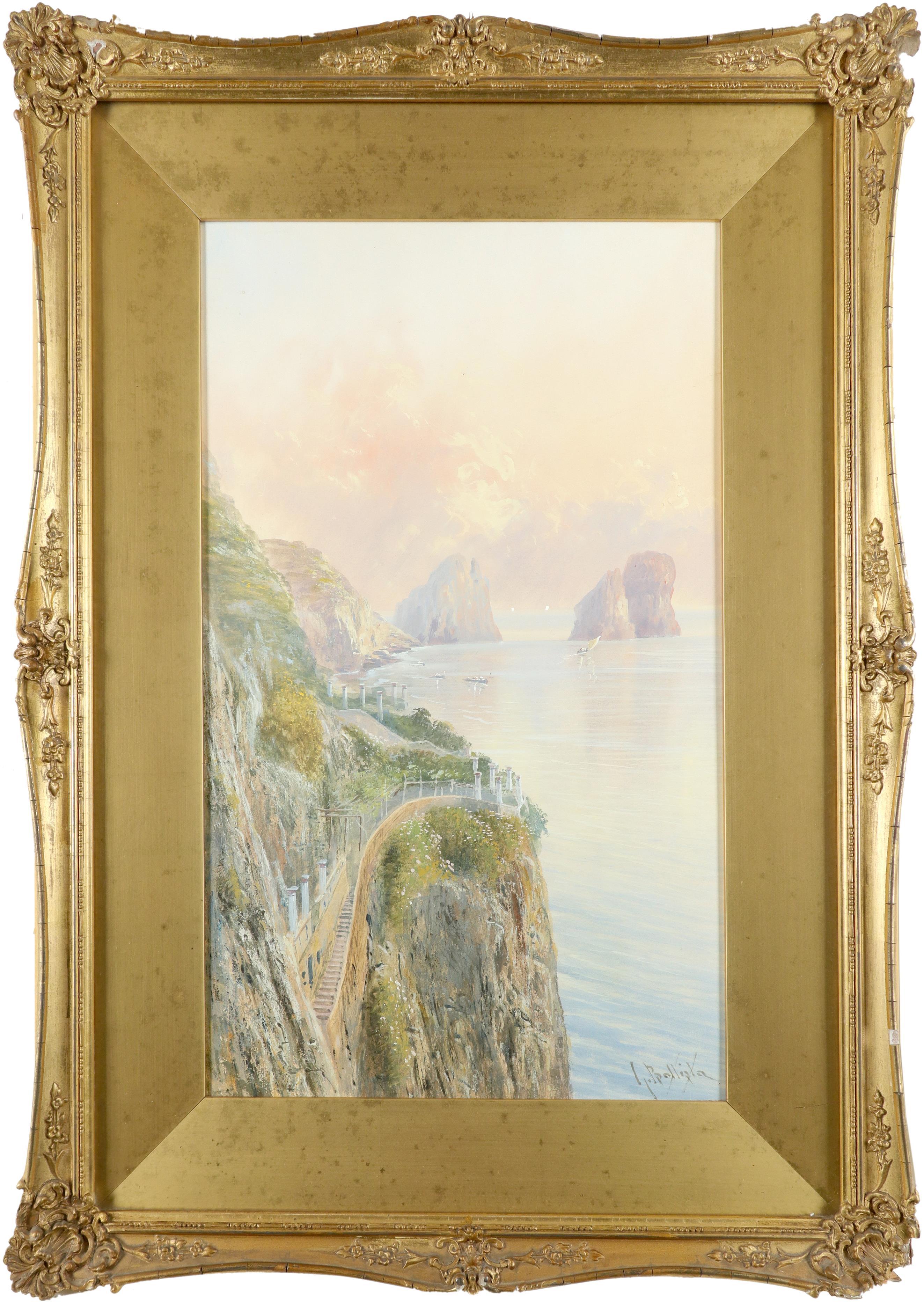 Giovanni Battista (Italian 1858-1925) View of the Faraglioni, Capri; View of a road on the Amalfi - Image 2 of 6