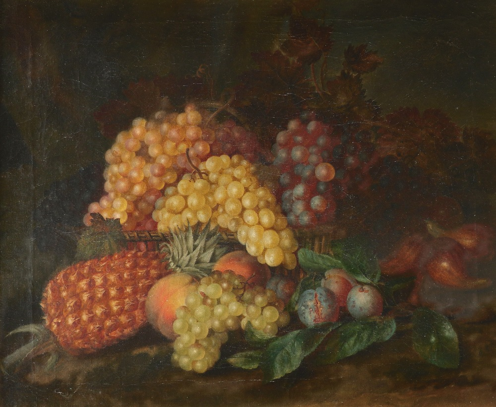 Follower of Eloise Harriet Stannard Still life with a basket of peaches, plums and grapes on a - Image 4 of 6
