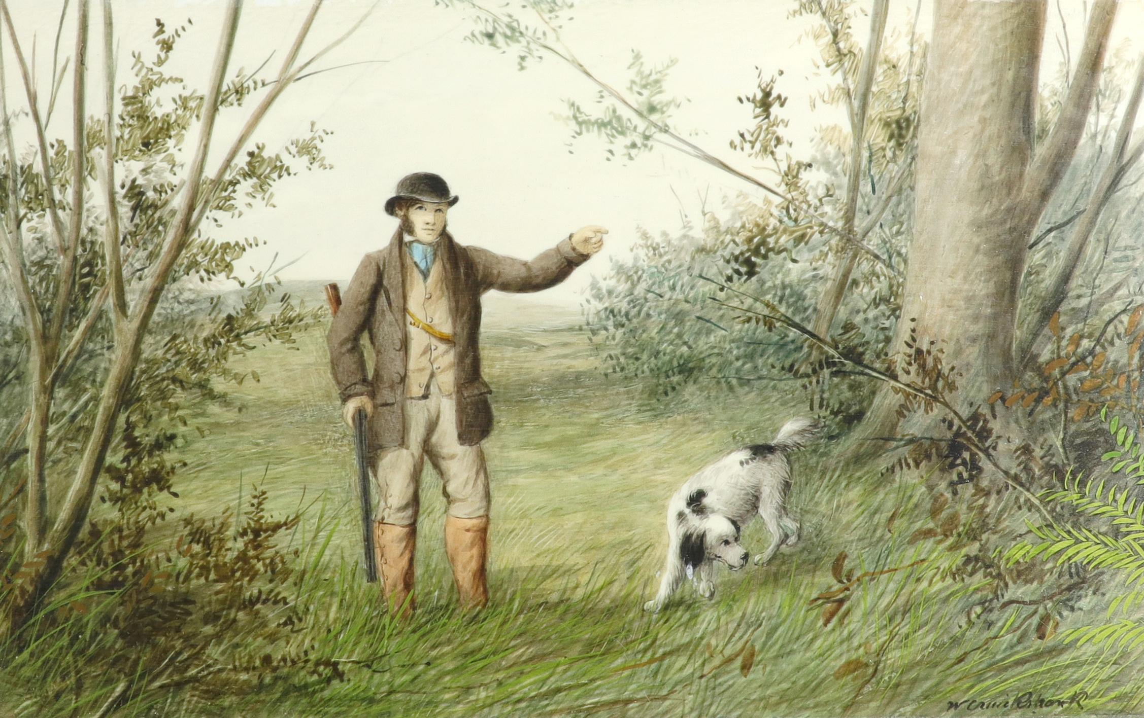 λWilliam Cruickshank (1848-1922) Hunter and his spaniel; Spaniel and two hares; The day's bag; Three